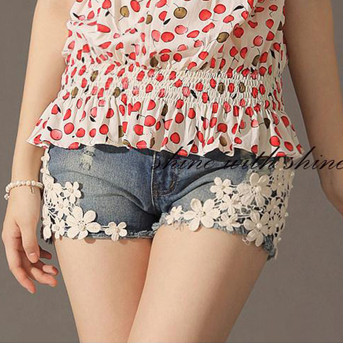 Free Shipping Maternity clothing summer fashion maternity pants laciness maternity shorts maternity denim shorts belly pants 1b