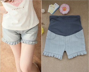 Free shipping maternity clothing summer maternity pants ruffle maternity shorts maternity jeans shorts maternity belly pants