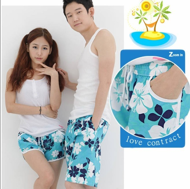 Free shipping men and women's short pants  lovers beachpants blue casual lounge wear lovers shorts