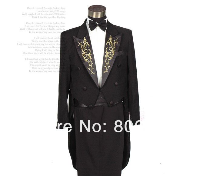 Free shipping Men`s Neckline embroidery Tuxedo Magic Show Performed black and white color  ( jacket + pant  ) size: S M L XL