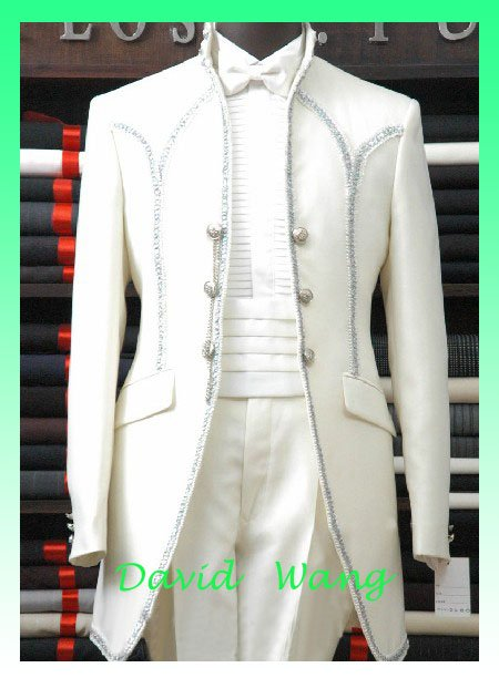 Free shipping Men's white dress suits, dress and groom perform (dress Clothes+Pants+ tie) material:Serge fabric