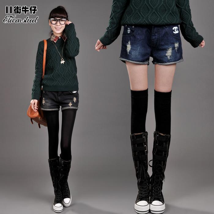 free shipping Mm plus size denim shorts autumn and winter female loose hole flash single-shorts basic shorts boot cut jeans