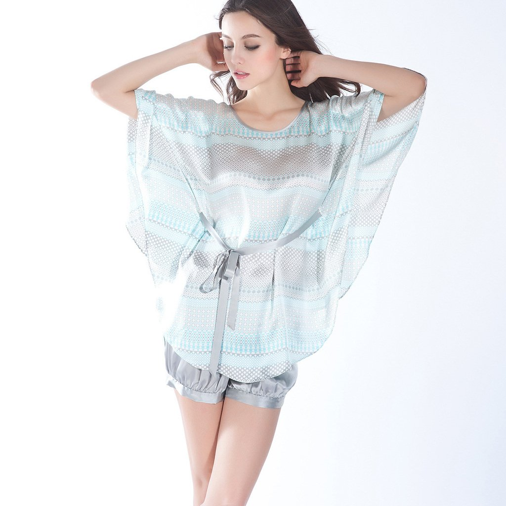 free shipping Mulberry silk female top silk dot print batwing sleeve at home service