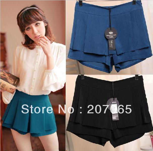 Free shipping Multi-kilt pants boutique women shorts,ladies' shorts 2 colour size S,M,L