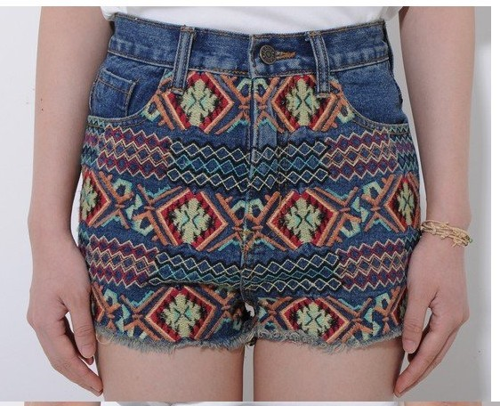 Free shipping National style retro denim shorts notu822