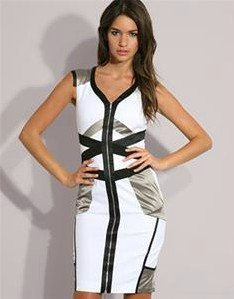 Free Shipping New 2012 Fashion Colorful and elegant fashion  k&m black/white Slim waist dress DH036 SIZE:US4-US12