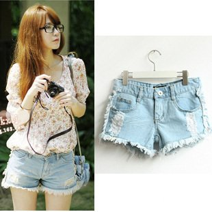 Free Shipping New 2012 hole  low waist denim shorts/ women's casual jeans/fashion pants/Wholesale/Retail