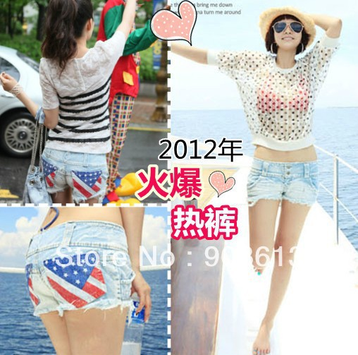 free shipping new 2012 women's American flag slim hip jeans denim shorts hot shorts