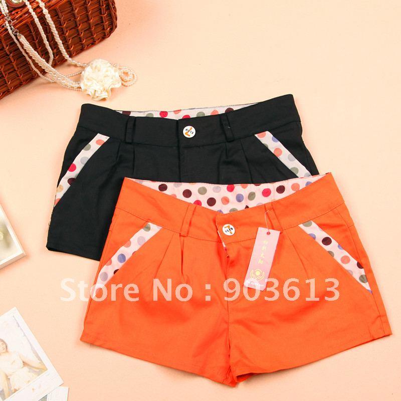 free shipping new 2012 women's  fashion polka dot casual overalls shorts mid waist roll-up hem shorts
