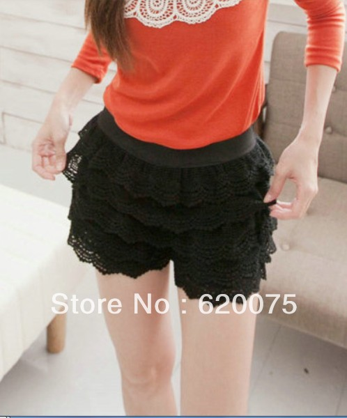 Free shipping new 2013 fashion VIVI recommended,  multi-layered lace Pierced Gouhua high waist shorts, solid color sexy Culottes