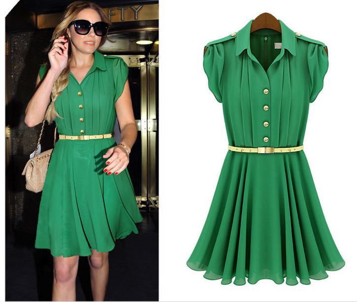 Free shipping new 2013 summer dress fashion Women's Lapel lotus sleeve slim thin dress
