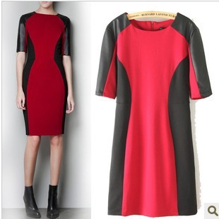 Free Shipping New Arrial 2013  Ladies PU leather Sleeve Red Black Color Blocking patchwork Spring Autumn Dress