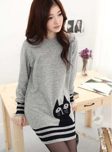 Free Shipping/new arrival autumn and winter women o-neck loose cat sweater/high quality/hot selling