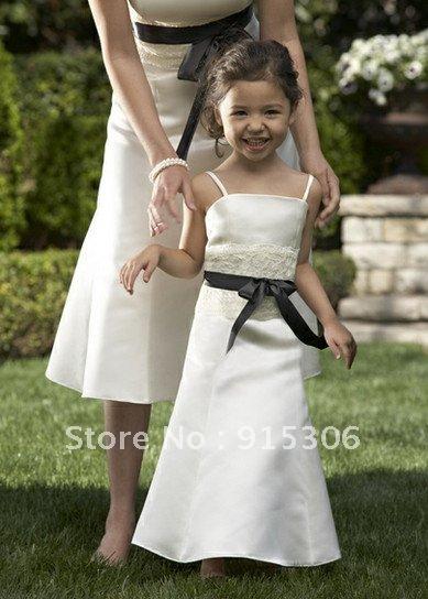 Free shipping new arrival black sash white flower girl dress