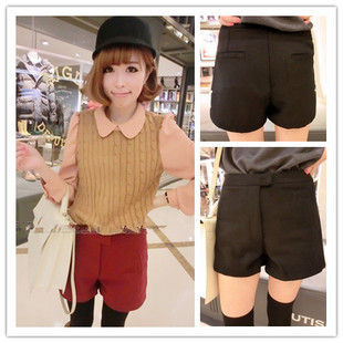 Free Shipping New Arrival Brief all-match high waist woolen shorts Causal Boot Pants(Black+Red+S/M/L)121225#16