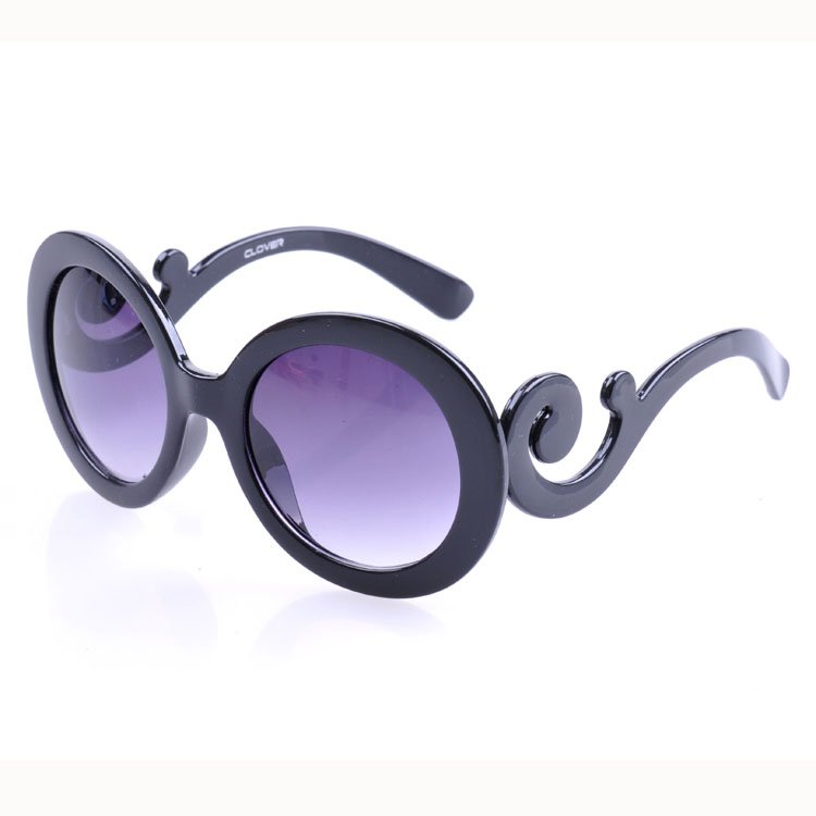 Free Shipping New Arrival Designer Inspired Round High Fashion Sunglasses Women Baroque Swirl Arms  Retail  Sunglasses -5061