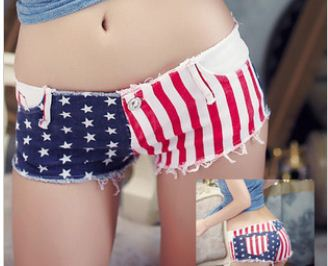 Free Shipping New Arrival Fashion Women Sexy HOt American USA United States Flag Stripes & Stars Denim Jeans Shorts Pants