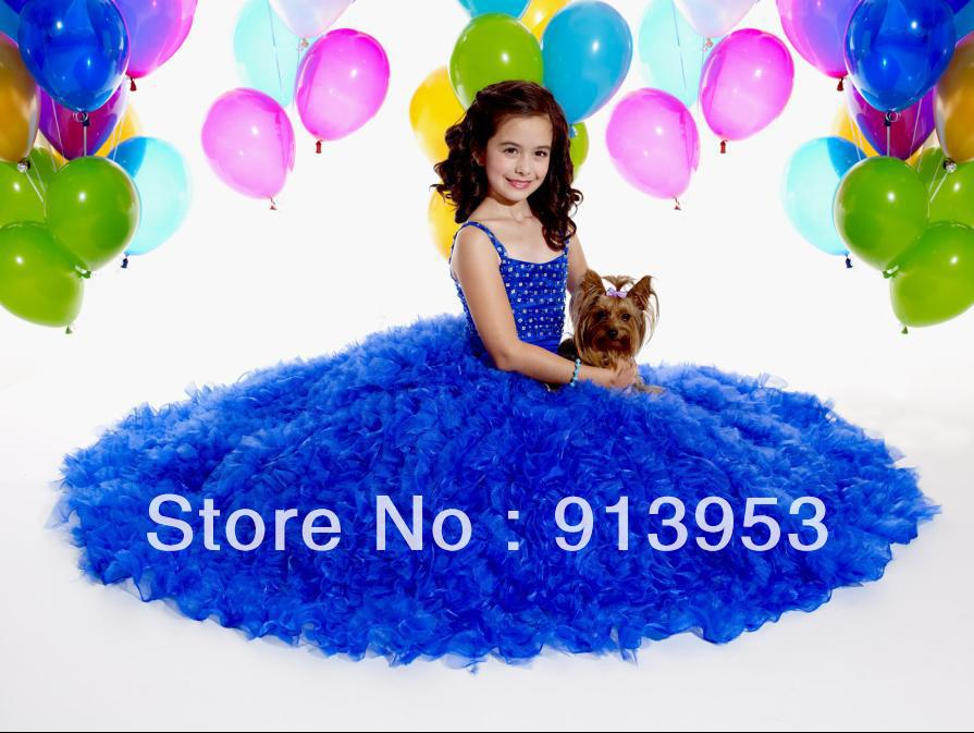 Free Shipping New Arrival Pretty Angels Pageant Gowns Spaghetti Straps A-line Flower Girl Princess Dresses