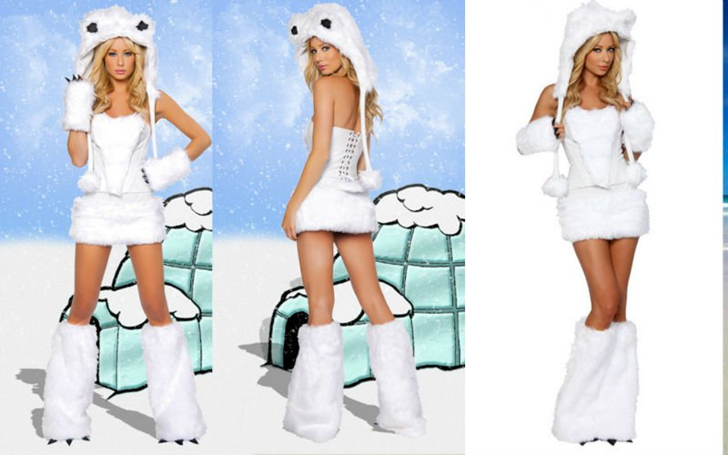 free shipping new arrival sexy women furry little white rabbit Halloween color game clothing cosplay outfit