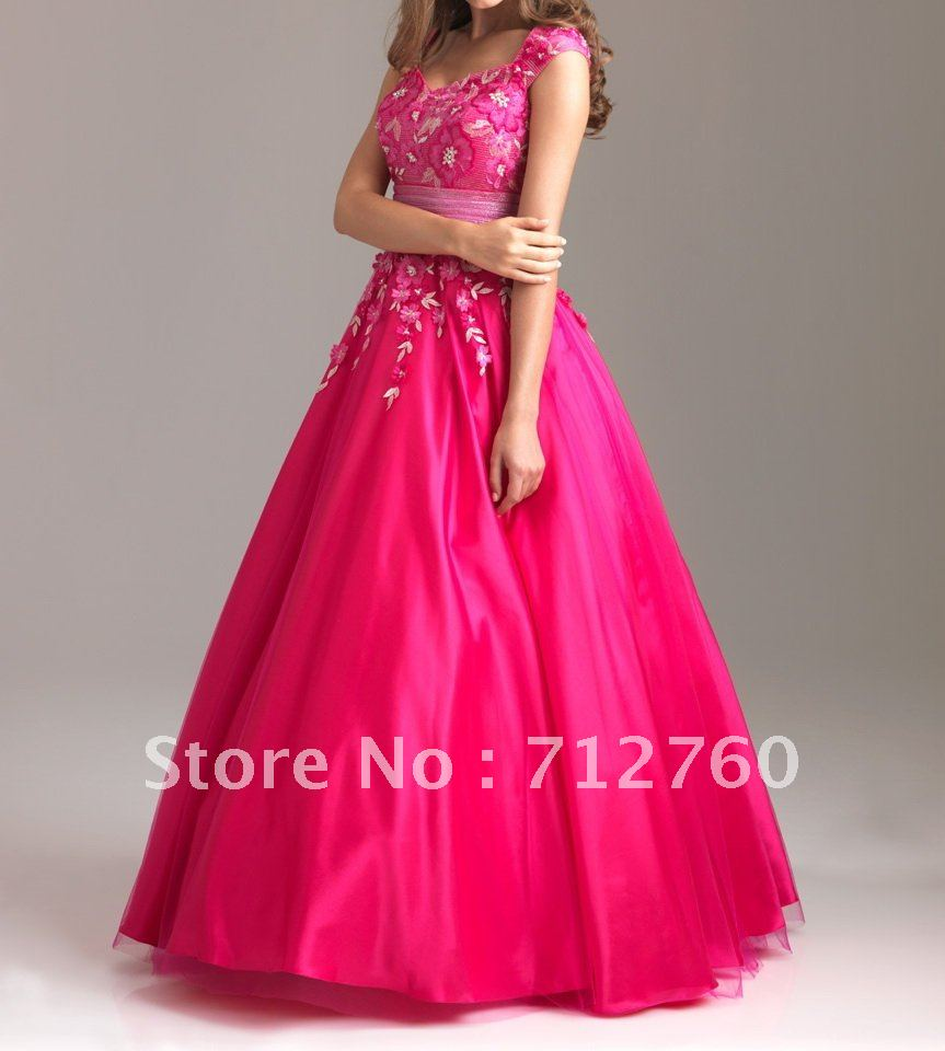 Free Shipping - New Cheap Cap Sleeve Long Fuchsia Modest Prom Gown with Appliques