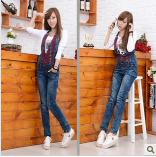 Free shipping new coveralls overalls, lovely of cultivating piece jeans, women's suspenders-G213
