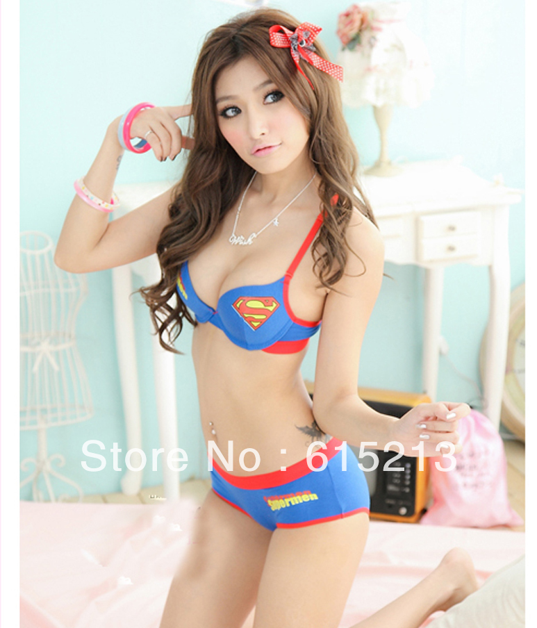 Free shipping New design push up bra panty set ladies superman style underwear
