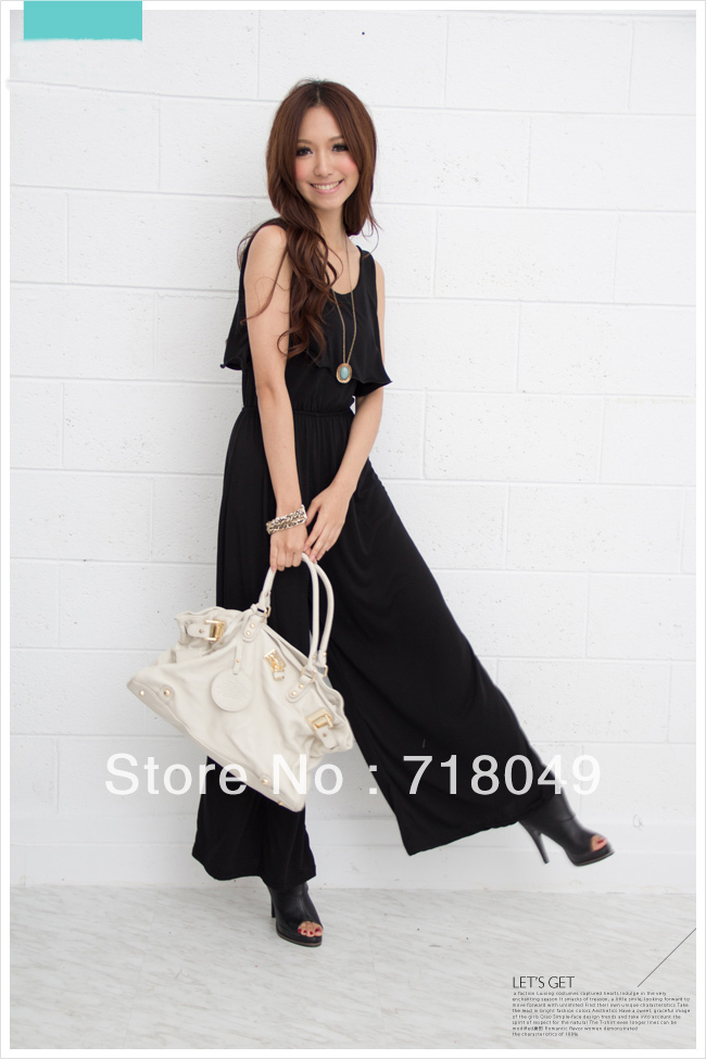 Free Shipping New Elegant Woman's Sexy Black Flounce Round Collar Jumpsuits