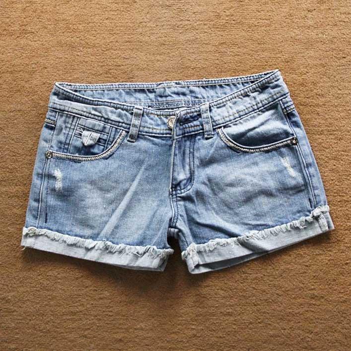 Free Shipping New Fashion 2012 Summer Korean Clothing Women's High Quality denim shorts Beaded Light color Hot Pants Shorts