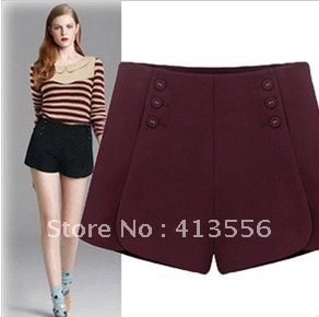 free  shipping    New fashion all-match thin double breasted splicing high-waisted wool shorts boots pants  b290 ow
