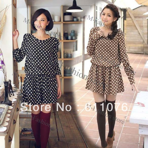 Free shipping New Fashion dot Ladies Romper Suit Cat Suit Long Sleeve Jumpsuits Black/ Khaki 9186