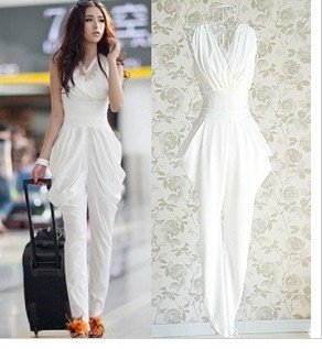 Free shipping !New Fashion Harem womens jumpsuits.Summer Sleevess Big size rompers,High quality  S M L XL
