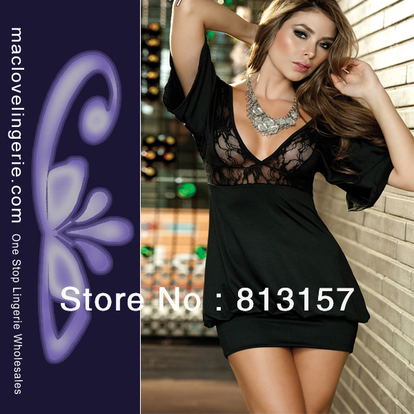 Free Shipping New Fashion Lace Dresses 2012 ML17777 Black Women Party Costume Lingerie Dress Women's Elegant Spring Summer Dress