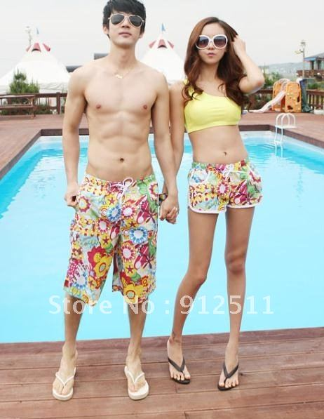 Free Shipping NEW  Fashion  Sunflowers Beach Shorts Lovers Short Pants  Cool Beachwear  In  Stock
