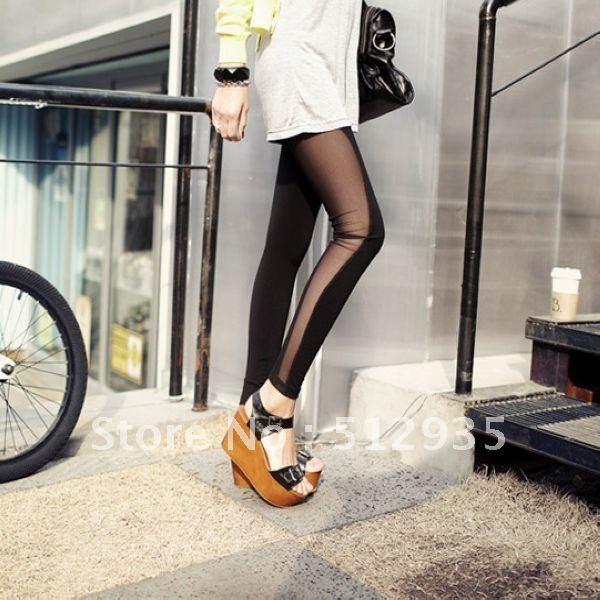Free Shipping New Fashion Women's Leggings ,Tights Stockings ,Lady's Ninth Pants ,Net Split Joint Legging #E8812