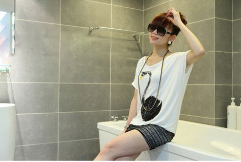 Free Shipping new fashion women's skirt Summer Slim Swan loose white dress