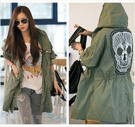 Free Shipping New Female Military  Button Trench Skull Back Hooded Coat