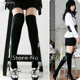 FREE SHIPPING NEW HOT  2012 autumn and winter fashion solid color black slim over-the-knee socks stockings socks