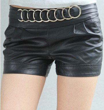 Free Shipping New In Vogue Korean Style Elastic PU Leather Shorts Black,Fashion Women's Shorts, Pants/Wholesale/Retail/Drop Ship