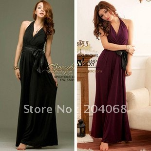 Free Shipping New Ladies' Sexy Jumpsuits with PU hanging neck and belt, deep -V neck & backless jumps, jumpsuits Sexy jumpers