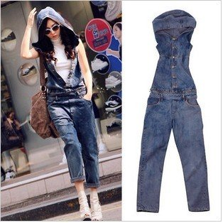 Free shipping new loose thin denim overalls, coveralls, denim hooded-G139