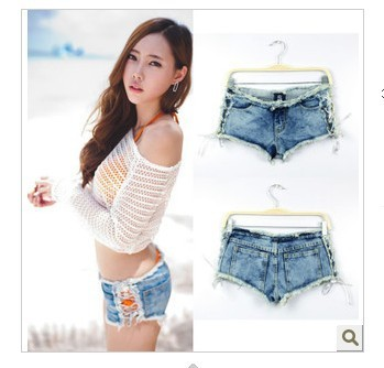 Free Shipping New Low waist women Jeans short  Sexy denim Jeans Shorts Bind belt Jeans pants