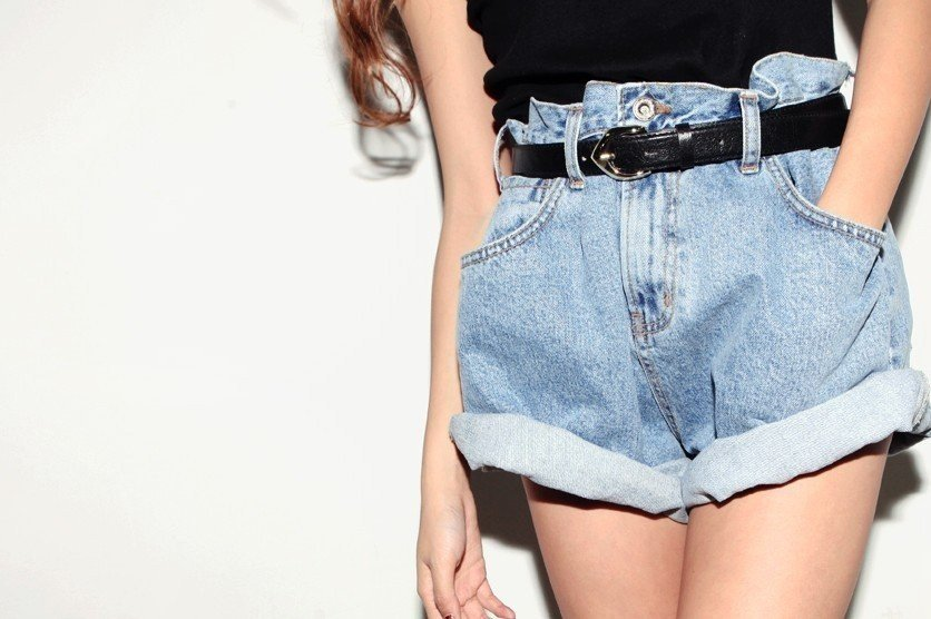 Free shipping New sale! I Q shop/  blue wash loose show shorts with belt!!hot pants