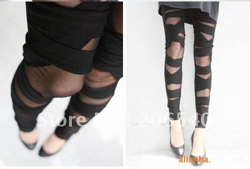 Free shipping New Sexy Stretch Women's Leggings Cross Straps Mesh Pantyhose Tight