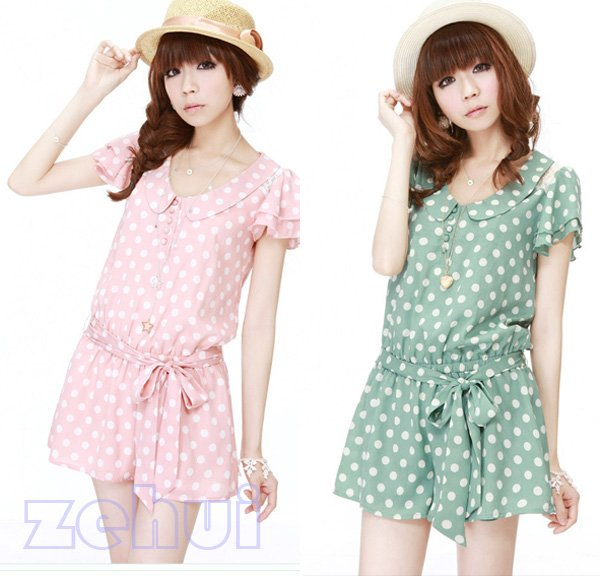 Free Shipping New Shorts Jumpsuits With Blet Sweet Princess Wave Point Slim Chiffon Blouse HR235