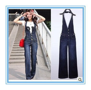 Free shipping new Siamese woman jeans, high waist and loose suspenders jeans-G71