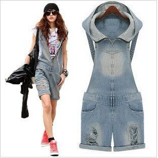 Free Shipping New Spring frayed nostalgia denim overalls, denim shorts, sweater, denim coveralls-G140