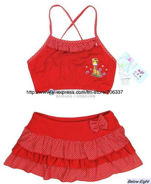 free shipping new style 10sets/lot wholesale baby BIKINI swim wear, girl's printed skirt swimsuit, kids swimming suits/GTK-002