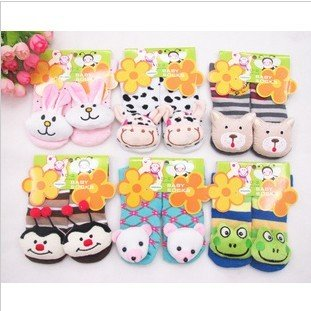 Free shipping New style baby socks with animal Baby Anti-slip Walking Home Shoes Children Stocking for 2 - 4 year old baby