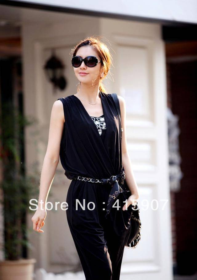 Free shipping!New Style V-neck Fashion women's jumpsuit Two color M L Size