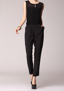 Free Shipping New Summer Sleeveless  Womens Jumpsuit,white  and Black Rompers jumpsuits for women